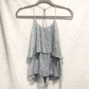 Hollister Grey & White Pattern Crop Top